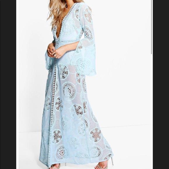 ae3d66cc80 Boohoo Swim | Boutique Aiyla Baby Blue Lace Cover Up Maxi | Poshmark